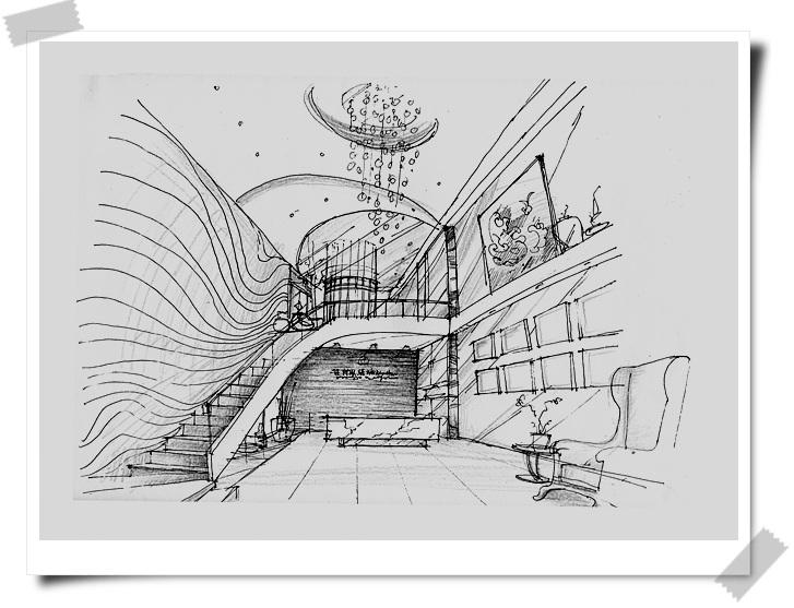 欧式庭院两点透视手绘图