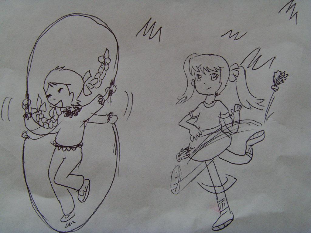 幼儿园小朋友跑步简笔画