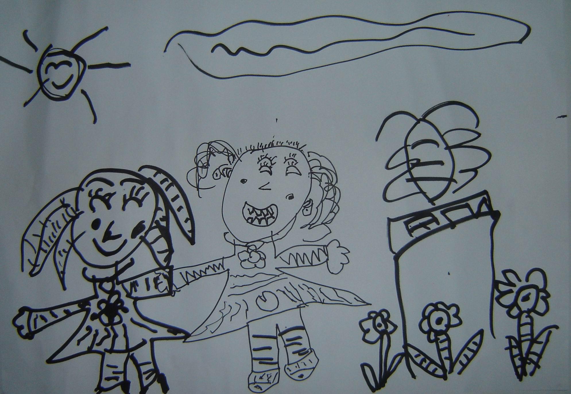我与可爱的老师简笔画图