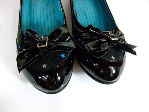 天美意08新款tmcnd05黑色漆皮低跟蝴蝶结休闲女鞋