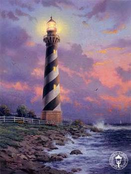 海边灯塔手绘图片