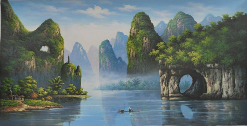 绘装饰画 仝 手 油画 超大; 仝绻手绘装饰画油画巨幅超大幅中国山水