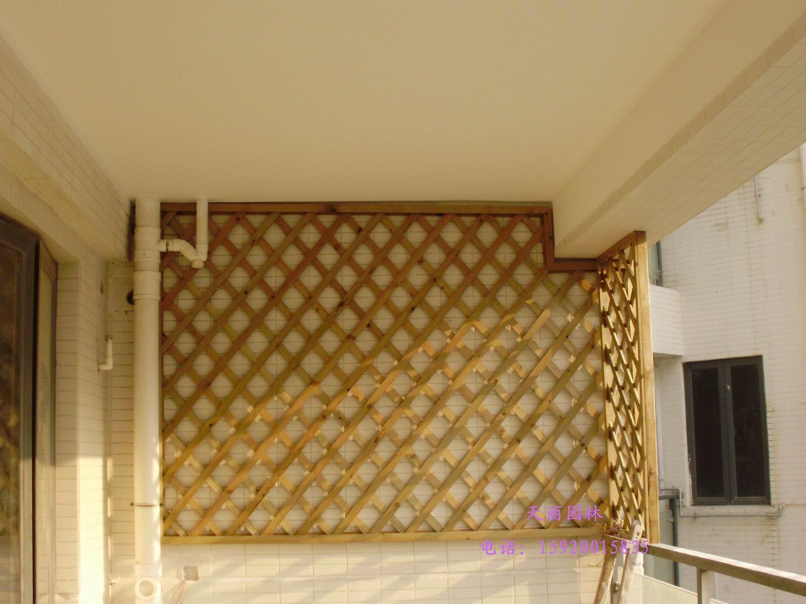 防腐木吊顶,花架,木地板,网格为您的阳 - 园艺团购