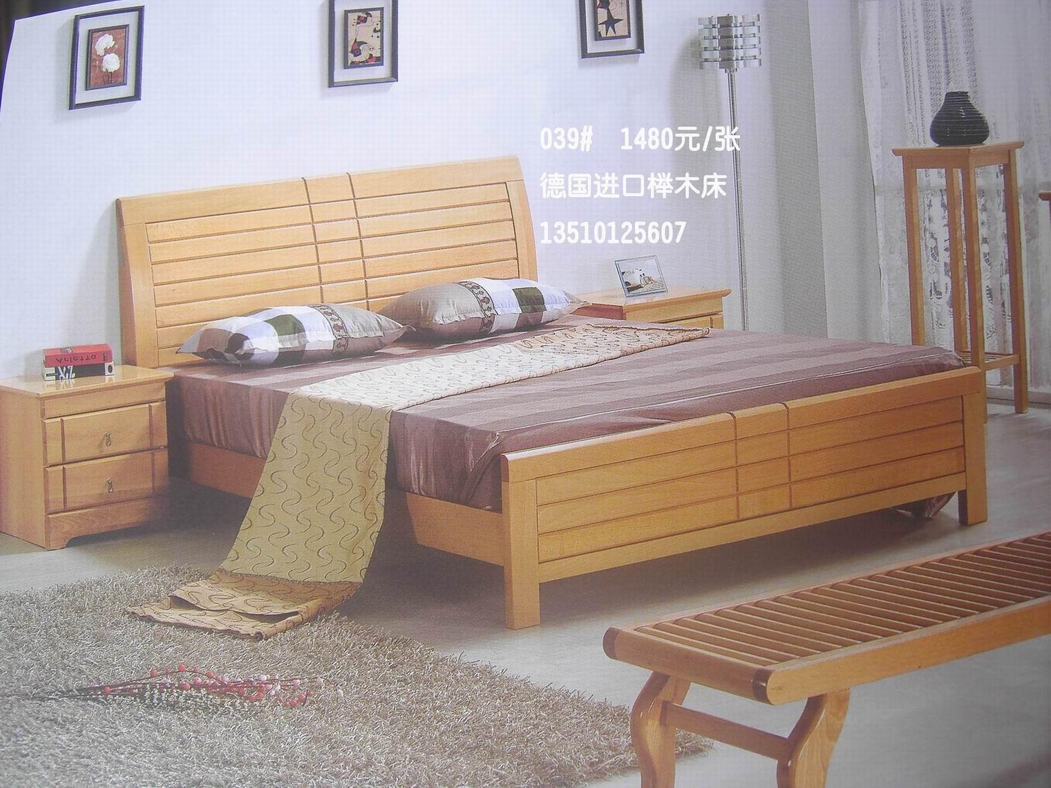 金海马床垫配祺丰德国进口榉木床子母床1980元.