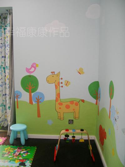 儿童房手绘墙画 献给六一小朋友的礼物