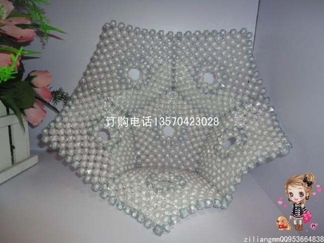 串珠五角果盘连接图解