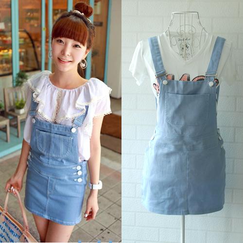 韩国订单~qng甜美可爱粉嫩牛仔背带裙; 韩版牛仔背带裙 水洗牛仔裙
