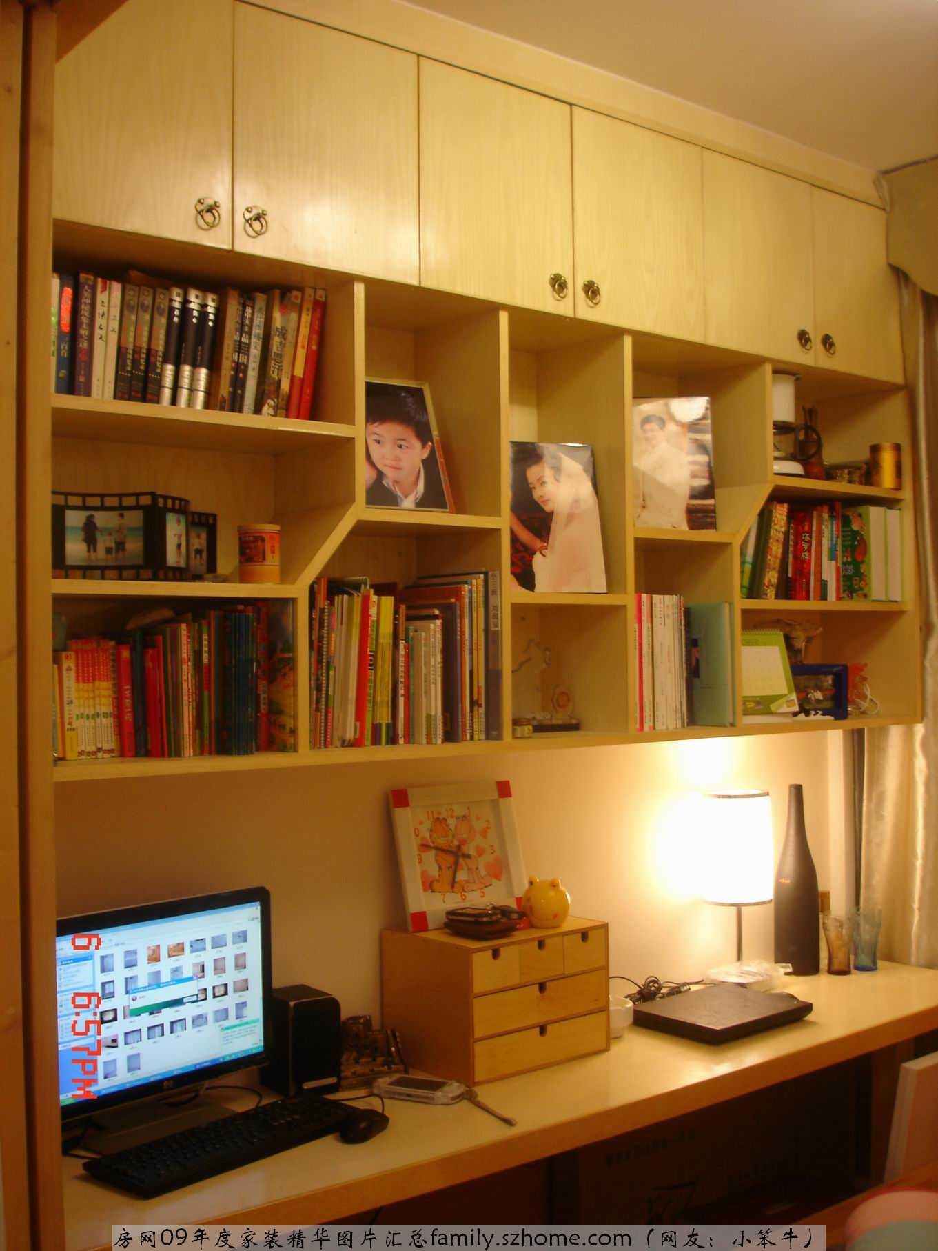 房间小书桌书柜设计图展示图片
