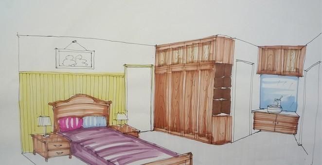 木质的儿童床手绘图