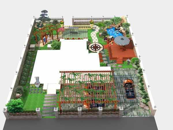 别墅花园,入户庭院