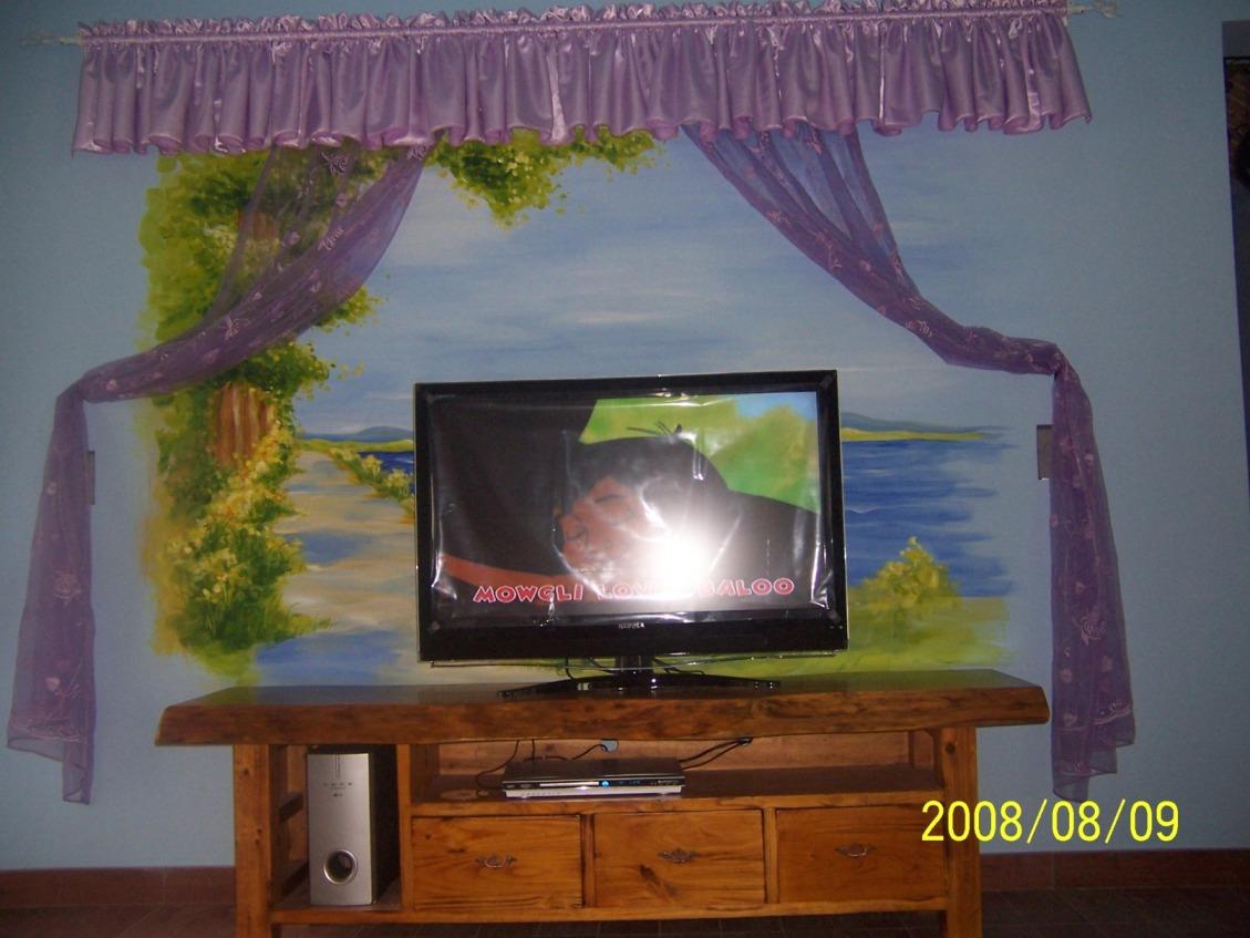 背景墙:窗帘+手绘图+实木电视柜