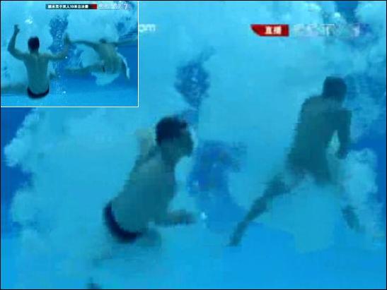 男子10米跳台澳大利亚的跳水选手入水后泳裤