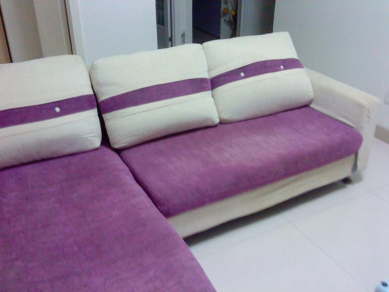 自用紫色布艺沙发超低价转让