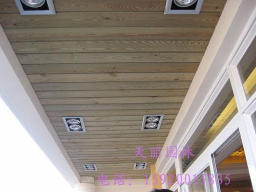 防腐木吊顶,花架,木地板,网格为您的阳台和入户花园增添一些自然和