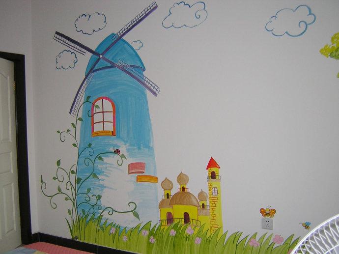 手绘墙画---小狗荡秋千
