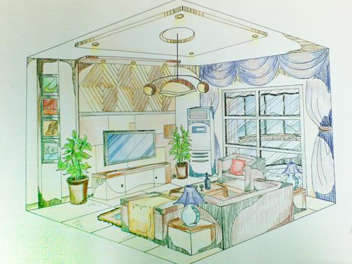 两点透视图手绘客厅