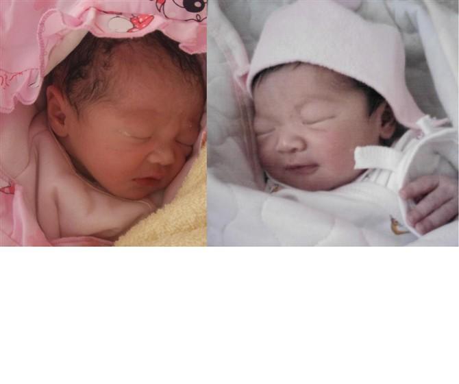 两个宝贝刚出生的样子 -嘻嘻哈哈,快乐成长