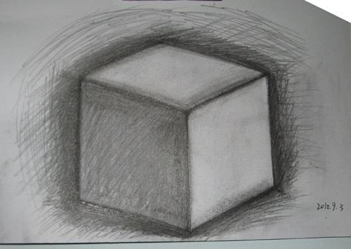 学素描画法步骤立方体